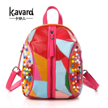 Kavard Genuine Leather Sheepkin Backpacks Women Backpack School Bags for Teenagers Mini Backpack Female Shoulder Bag mochilas