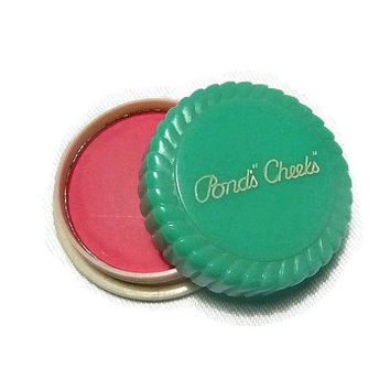 30s Art Deco Celluloid Compact Vintage Pond's Cheeks Rouge Flapper Era Makeup Mini Vintage Turquoise Compact Vanity Makeup Case Collectible