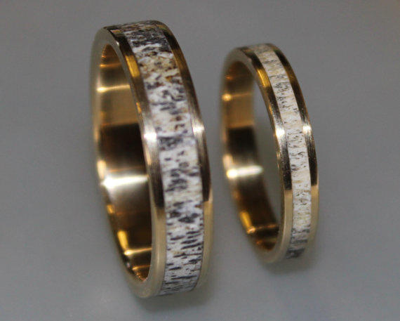 18k gold wedding band set with deer from ringordering on etsy - Deer Antler Wedding Rings