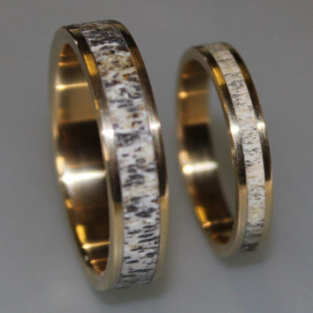 18k Gold Wedding Band Set with Deer Antler, Antler Ring inlaid in Gold Band, 18k Wedding Ring Set