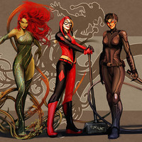 Catwoman Selina Kyle Harley Quinn Poison Ivy Comics Poster
