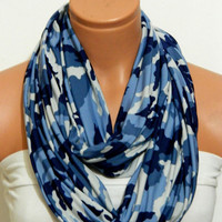 Lycra Jersey Fabric Scarves,Camouflage Infinity Scarves,Loop Scarf,Circle Scarf, Camouflage..army blue and dark blue..Nomad Tube...