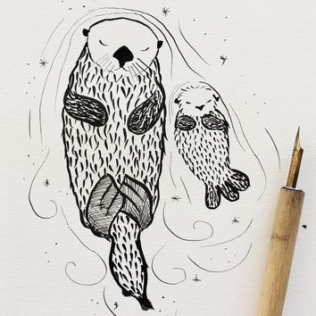 Inktober Drawing - Sea Otters