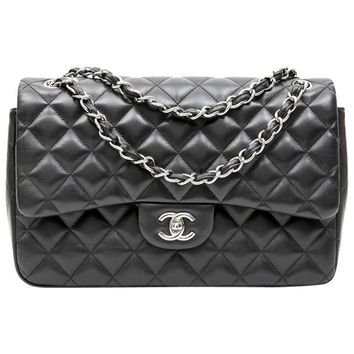 CHANEL Jumbo Double Flap Bag in Black Smooth Quilted Lamb Leather