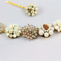 Cluster earring bracelet vintage wedding ivory white blush pearls beads AB crystals retro glam Gatsby bridesmaid wide chunky repurposed
