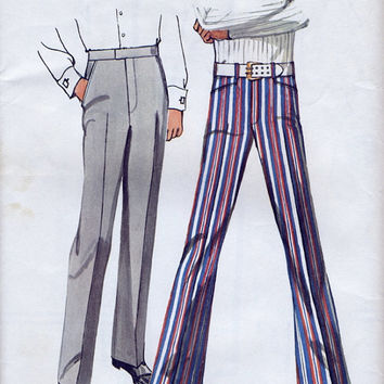 Uncut 70's Men's Pants And Jean-Cut Bell-Bottom Pants / Simplicity 9736 UNCUT FF Vintage Sewing Pattern.