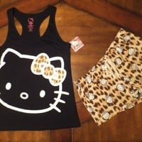 NWD Womens L HELLO KITTY Animal Print Sleep Shorts & Black Tank Top Set Pajamas