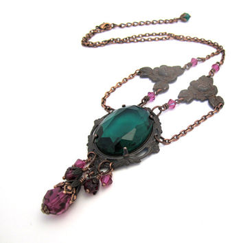 Victorian Gothic Necklace - Emerald Green Fuchsia Crystal - Copper Black - Baroque Jewelry
