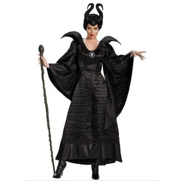 Vocole Halloween Women Black Sleeping Beauty Witch Queen Maleficent Costumes Carnival Party Cosplay Fancy Dress