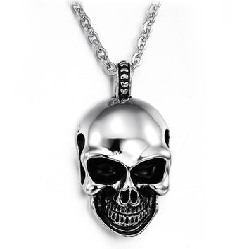 New Arrival Shiny Gift Stylish Vintage Men Strong Character Skull Pendant Stainless Steel Jewelry Necklace [6526586307]