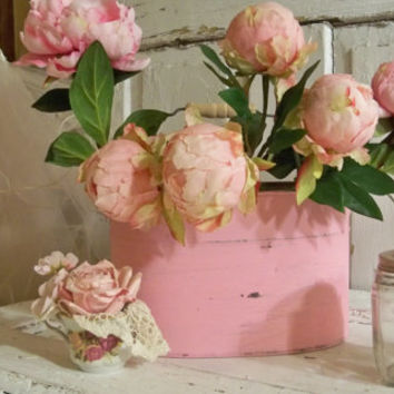 Rusty pink bucket shabby chic farmhouse zinc pail with with peonies home decor piece anita spero