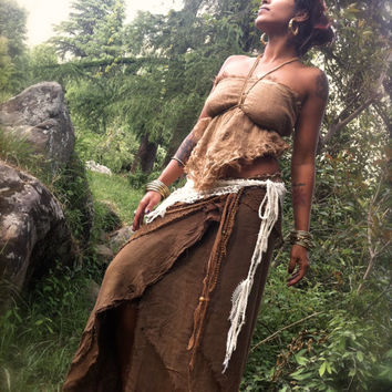 Brown Earthy Forest Fairy Skirt and Top outfit with discount