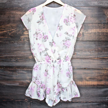 Lioness ruffle hem floral print romper in lilac + ivory