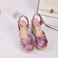 Gucci 2019 Women Loafers Ladies Casual Slippers Purple Wedge Sandals Slippers