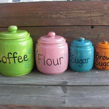 Custom 4 Piece Ceramic Canister Set Pick Your Colors by InAGlaze