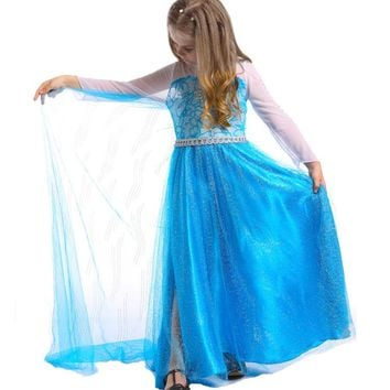 High Quality Frozen Girl Dresses Princess Children Clothing Anna Elsa Cosplay Costume Kid's Party Dress Baby Girls Clothes M011
