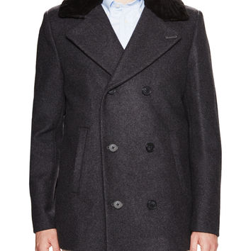 Soia & Kyo Men's Leroy Wool Peacoat - Dark Grey -