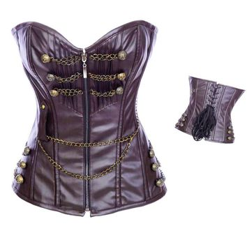 Leather zipper Gothic Steampunk Corset Sexy Steel Boned Chains Clothing Waist Cincher Costume S-2XL Bustier
