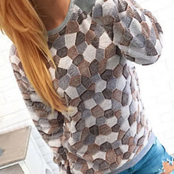 Color Block Stone Patterned Sweatshirt
