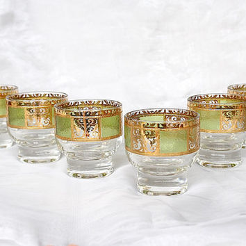 Culver Glassware - Culver Glasses - Culver Barware - Culver Prado - Mid Century Glasses - Vintage Glassware - Green & Gold Glasses - Modern