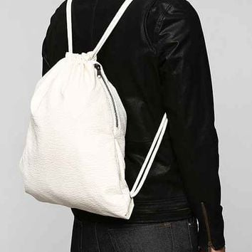 Feathers Faux-Leather Cinch Backpack- White One