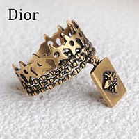 DIOR New Women Men Personality Retro Ring Couple Accessories
