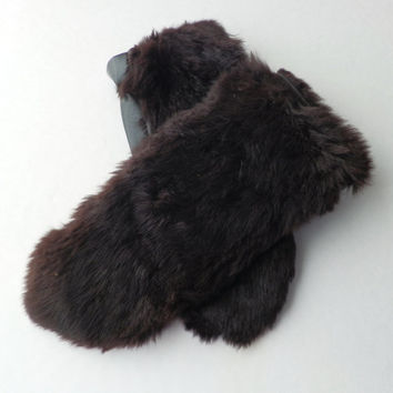 Leather and Mink Mittens