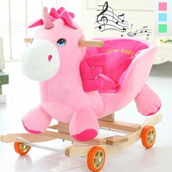 Wooden Plush Animal Rocking Horse Trojan Toy Rocking Chair Baby Carriage Child Trolley With Music Birthday Children's Gift