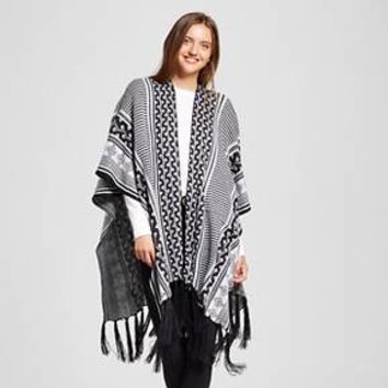 Women's Knit Ruana Wrap with Fringe Black and White - Sylvia Alexander