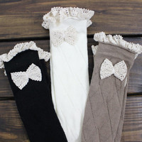 Women's Leg warmers, Women's Accessories, Boot Socks, Lace Boot Socks, Over the Knee Socks, Boot Socks with Lace, Women's Christmas Gifts