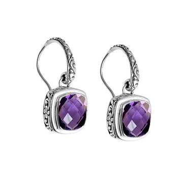 AE-6086-AM.S Sterling Silver Earring With Amethyst