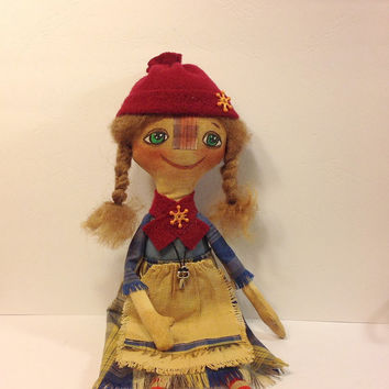 Сloth dolls -Art doll- Cloth doll-OOAK doll-Textile dolls-Collecting doll-Stuffed doll- Fabric doll-Soft doll-Doll-Rag doll-Cotton doll