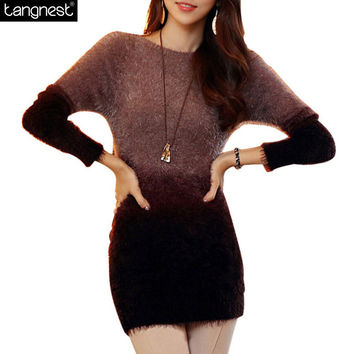 TANGNEST Soft Mohair Sweater 2016 Women Knitted Sweaters Contrast Pullovers Casual Patchwork Pullover Knitwear Jumper WZM256