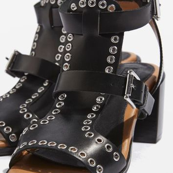 VIENNA Eyelet Mid Heel Sandals - New In Shoes - New In