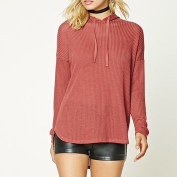 Open-Knit Hooded Sweater