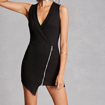 Ribbed Knit Wrap Dress