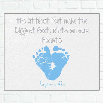 Nursery Art Baby Footprints Personalized Name Nursery Wall Art Print: Baby Boy Gift for Mom 8x10 or 11x14 Poster