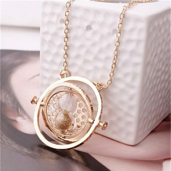 Popular Necklace Harry Time Turner Necklace Movie Jewelry Hermione Granger Rotating Hourglass Necklaces Horcruxes Magic Necklace