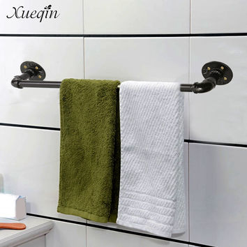 Xueqin Shipping Vintage 60Cm Bathroom Towel Bar Rack Hanger Holder Black Towel Shelf Shower Room Iron Storage Shelves