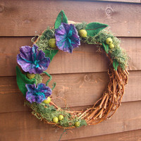 Felt Flower and Green pods Grapevine Wreath...18 inch...Ready to ship... (woolcrazy)