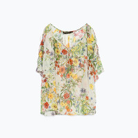 Printed shirt with shoulder detail