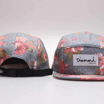 Five 5 panel Diamond Snapback Cap Hip Hop Floral Cap Flat Hat for Men & Women Casquette Gorras Planas Bone Hat