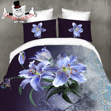 3D Butterfly Blue Floral Bedding Set and Quilt Cover
