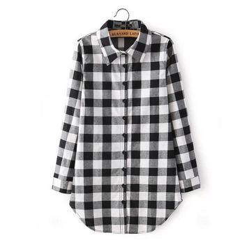 Winter New Women\'s Shirt Casual Medium Long Lapel Long-Sleeve Plaid Large Size Thin Section T-Shirt Black/L