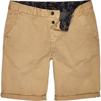 River Island MensBrown tan slim chino shorts
