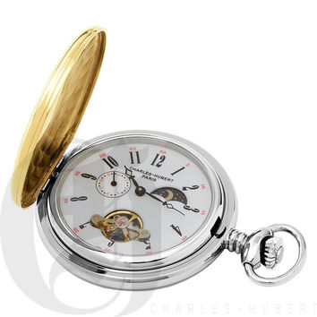 Charles Hubert Stainless Steel Two-Tone Demi Hunter Case Mechanical Pocket Watch