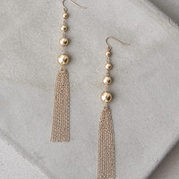 AEO Gold Ball & Tassel Earrings, Gold