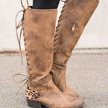ICIKYE Boise Cheetah Backing Boots (Tan)