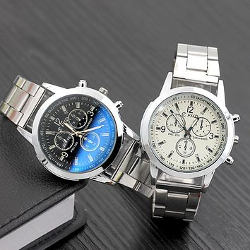 Men Watches Fashion Stainless Steel Analog Quartz Wrist Watch Lady Luxury Mesh Band Bracelet Watch