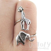 Elephant and Giraffe Wrap Around Adjustable Ring in Silver | DOTOLY